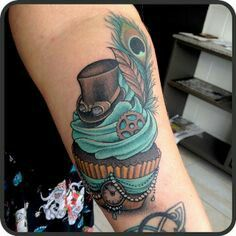 Wondering what is Steampunk? Visit our website for more information on the latest with photos and videos on Steampunk clothes, art, technology and more. Cupcake Tattoo Designs, Cupcake Tattoos, Tattoo Designs Men, Bild Tattoos, Body Art Tattoos, New Tattoos, Cool Tattoos, Portrait Tattoos, Watch Tattoos