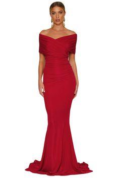 Robe de Soiree Longue Rouge Col Bardot Sirene Pas Cher www.modebuy.com   b28ed6f859e