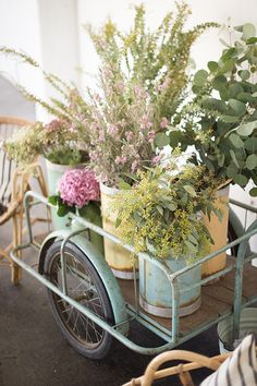 vintage cart with flowers from found home / sfgirlbybay
