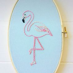 Stitch your own flamingo hoop to beat the winter blues. Instant download PDF available in my shop! Link in profile