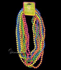 Neon 32 inch Beaded Necklaces. You can use beads to decorate the dessert table, the lighting, even bead necklaces for guests to wear at the party.  Let the good times glow...