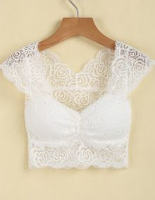 White Cap Sleeve Sheer Lace Crop Vest