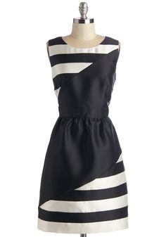 Chic Black and White Stripe Dress