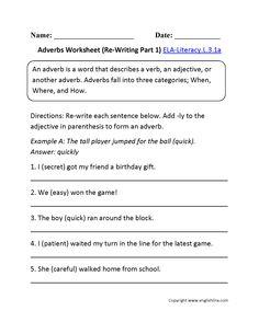 Adjectives worksheet 1 ela literacy l 3 1a language worksheet