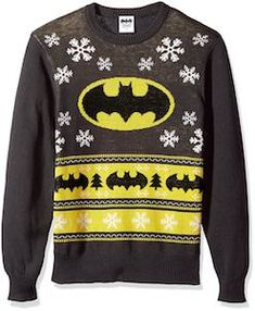 Batman Black and Yellow Christmas Sweater - http://www.thlog.com/batman-black-yellow-christmas-sweater/