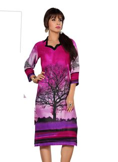 Superb Rayon Cotton Printed Kurti gunjfashion.com
