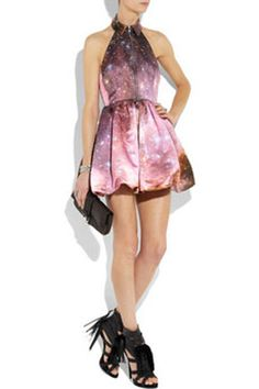 Christopher Kane- Galaxy Print Silk Dress