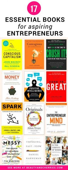 17 Essential Business Books For Aspiring Entrepreneurs Click through to get the list of the most essential business books written by successful entrepreneurs. Kick start your own online business with the best knowledge in hand. PIN this for your reference Good Books, Books To Read, My Books, Inbound Marketing, Digital Marketing Strategy, Marketing Ideas, Marketing Books, Marketing Articles, Marketing Strategies