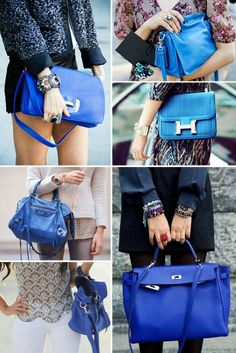 Blue handbags what a great pop to your wardrobe
