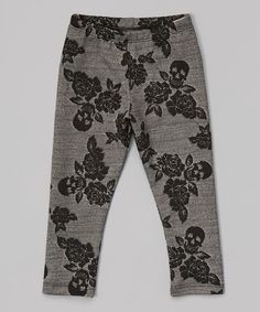 Look at this Dreaming Kids Gray & Black Floral Skull Leggings - Infant, Toddler & Girls on #zulily today!