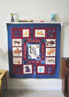 How to hang a quilt on the wall...love the shelf on top