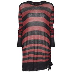 Insanity Black/Red Striped Sweater Jumper by Punk Rave ($54) ❤ liked on Polyvore featuring tops, sweaters, red stripe sweater, red jumper, red stripe top, red striped sweater and stripe sweaters
