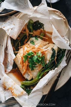 Chinese Fish En Papillote (Paper wrapped fish in sesame ginger sauce) Soy Sauce, Ginger Sauce, Romantic Dates, Sheet Pan, Cod, Super Easy, Best Chinese Food, Delicate, Gluten Free