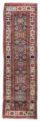 SHAHSEVAN RUNNER  NORTH WEST PERSIA, CIRCA 1880  A few small areas of wear, corroded brown, scattered small areas of repiling and repair, a few small stains, selvages slightly frayed in places, ends secured 12ft.6in. x 3ft.9in. (382cm. x 114cm.)