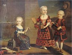 A Group Portrait, girl with a triangle cymbal, girl with a mamoset in a box, and boy with a mandolin François-Hubert Drouais.