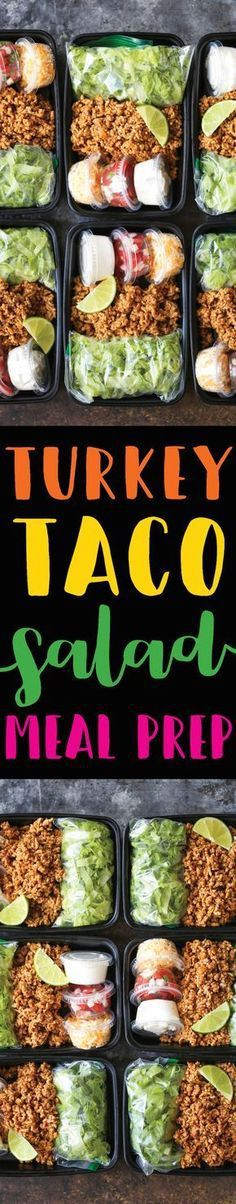 Turkey Taco Salad Meal Prep - A much HEALTHIER take on Taco Tuesdays, except you are meal prepped for the entire week! Less calories and cheaper too! paleo dinner for beginners