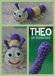 DIY crochet caterpillar, worm, millipede. Easy to crochet. Filled with single socks :-)    DIY Raupe, Wurm oder Tausendfüßler. Einfach zu häkeln. Häkeltier. Füllmaterial: einzelne Socken.