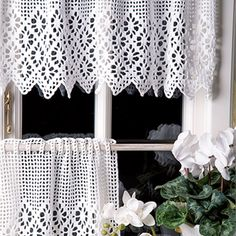 Crochet Curtains, Diy Curtains, Kitchen Curtains, Crochet Doilies, Knit Crochet, Tulips, Projects To Try, Knitting, Hobby