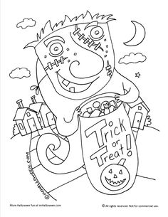 treat or treat coloring page find more halloween fun at wwwimhalloweencom