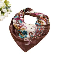 Carriage 1 Square Scarf 28 inch Fashion Satin Silk Hair Head Neck Scarves Wraps for Women 70 x 70cm