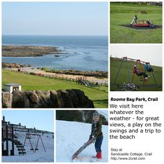 Chosen for the #ScotlandHour theme of parks in July 2013 - a selection of photos taken over the years  at Roome Bay park in Crail.  Visit at any time of year, no matter what the weather! Stay at http://www.2crail.com.