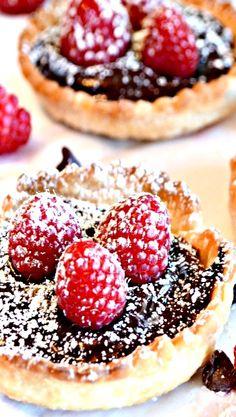 MASON JAR LID CHOCOLATE RASPBERRY TARTS