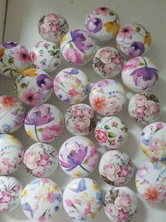 Items similar to Shabby Drawer Knobs - Huge Assortment- Cottage Chic Knobs, Pretty Floral Drawer Pull, Pink Flowers- 1 Inches on Etsy Holiday Themes, Holiday Parties, Shabby Chic Drawer Knobs, Decoupage, Kilner Jars, Funky Furniture, Painted Furniture, Furniture Knobs, Vintage Rock