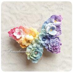 Crochet Cactus, Crochet Butterfly, Crochet Flower Patterns, Freeform Crochet, Crochet Art, Flower Applique, Cute Crochet, Irish Crochet, Crochet Designs