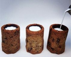 Chocolate cookie milk shots: milk tumblers made from chocolate chip cookies. @Zahir Jaffer on it! :p