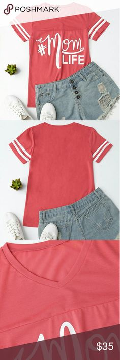 *COMING SOON* #MomLife Raglan V Neck Tee Shirt Arriving 1-2 weeks.  #MomLife. For those of us in the club this t-shirt is a must have. Pretty coral color raglan tee with hashtah graphic, a v neck and ringer sleeves. Super soft feel makes it comfy enough to wear around the house. Yet, it's cute and stylish enough to wear with with your fave jeans out to brunch with the girls on the rare break from your mom life! Perfect for layering or on it's own. NOT J Crew, listed that way only for…