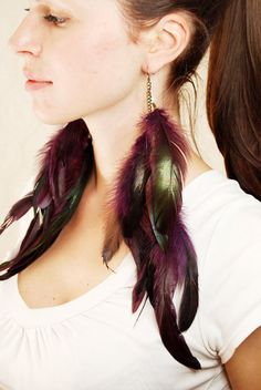 Extra Long Feather Earrings  Heartbeat by Njuu on Etsy, $29.00
