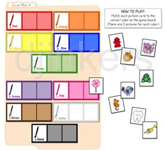 Printable file folder game to help teach colors with darling DJ Inkers graphics.