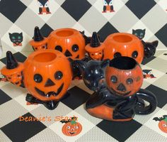 Vintage Halloween Goodies I Found - Deanie's Stash Halloween Goodies, My Sewing Room, Candy Containers, Vintage Halloween, Cupcake, Tableware, Things To Sell, Dinnerware, Dishes