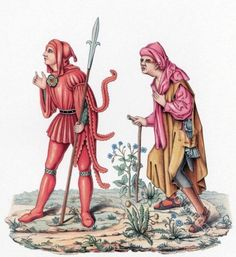 Court messenger and peasant 15th century. Medieval fashion history.