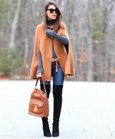 Take a look at 15 ways to wear a cape outfit in the photos below and get ideas for your own beautiful fall outfits! cape // Fashion Look by Nada Adelle Image source Fashion 2017, Look Fashion, Fashion Outfits, Womens Fashion, Fashion Ideas, Fashion Styles, Fashion Check, Street Fashion, Fashion Guide