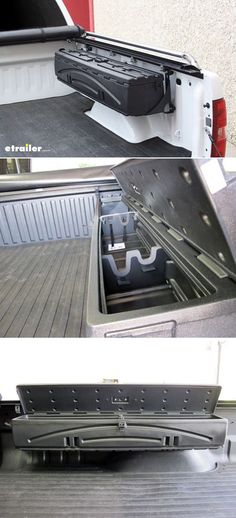 Gun storage with this lockable, heavy-duty polyethylene storage box couldn't be better. Installs over the wheel well in your truck bed. Offers up to cu ft of storage space. Includes gun rack inserts for 2 shotguns or 1 rifle with scope. Truck Bed Storage Box, Truck Bed Tool Boxes, Truck Tools, Gun Storage, Storage Ideas, Storage Boxes, Weapon Storage, Lifted Chevy, Chevrolet Silverado
