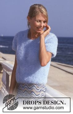 Drops Design, Sweater Knitting Patterns, Free Knitting, Big Knits, Drop Top, Free Pattern, Knit Crochet, T Shirts For Women, Tops