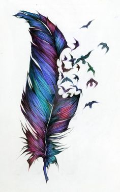 Feather and birds tatoo Trendy Tattoos, New Tattoos, Body Art Tattoos, Cool Tattoos, Tatoos, Colorful Tattoos, Raabe Tattoo, Piercing Tattoo, Piercings