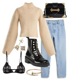 """Untitled #22667"" by florencia95 ❤ liked on Polyvore featuring Monki, Khaite, Prada, Cartier and Mosmann"