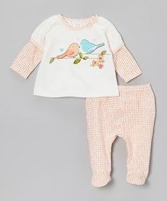 Take a look at this Peach Lovebirds Top & Footie Pants - Infant by Absorba on #zulily today!