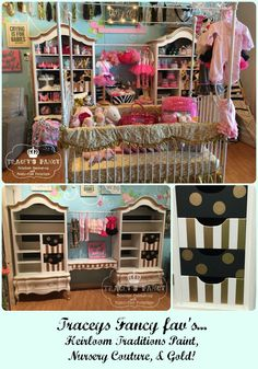 Traceys Fancy uses Heirloom Traditions Paints to create these whimsical french Armoires for Nursery Couture's displays!