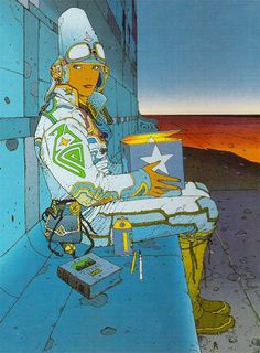 Jean Giraud (Moebius) was a French comic artist & illustrator. Moebius was one of the great creative minds of the last generation. Arte Sci Fi, Sci Fi Art, Art And Illustration, Comic Book Artists, Comic Artist, Comic Books Art, Sci Fi Kunst, Comic Kunst, Jean Giraud Moebius