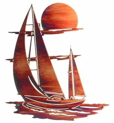 "24"" Sunset Sails Metal Wall Art by Neil Rose"