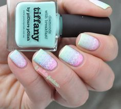 Easter egg pastel gradient nails with Moyou stamping