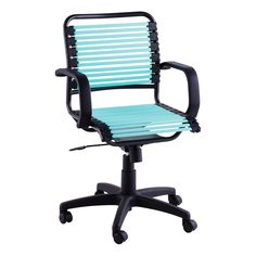 Turquoise Flat Bungee Office Chair with Arms
