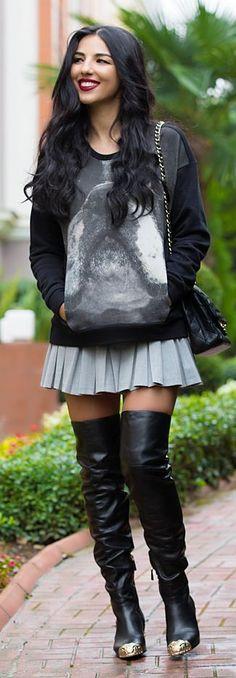 Grey Pleated Mini Skirt by Duygu Senyurek