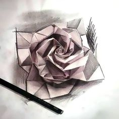 An amazing tattoo art of an origami rose. Great idea for girls. Tags: Best, Amazing #TattooIdeasForGirls
