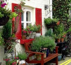 Great red shutters and lots of container gardening. Garden Cottage, Home And Garden, Box Garden, Lush Garden, Red Shutters, Window Shutters, Exterior Shutters, Gazebos, Outdoor Living