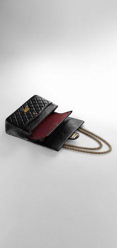 Bolsa 2.55, couro de novilho envelhecido & metal dourado claro-preto & burgundy - CHANEL