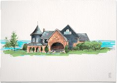 Illustrated wedding invitation suite featuring the Stonebridge Ranch Country Club in McKinney, Texas with hand-drawn illustrations of the iconic venue.
